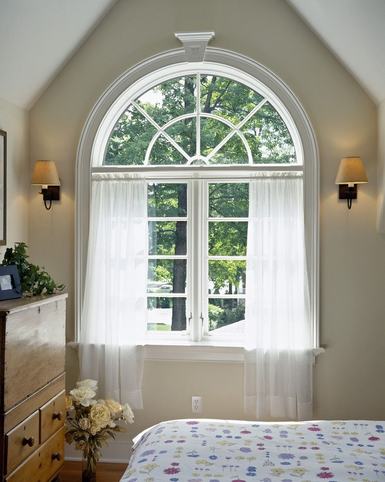 Best Way to Wash Windows with Traditional Bedroom  and Armoire Baseboard Beige Wall Curtains Drapes Floral Arrangement Floral Duvet Roses Sconce Vaulted Ceiling Wall Lighting White Wood Window Treatments Wood Trim