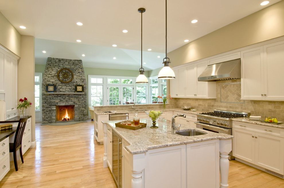 Bianco Romano Granite Countertops   Eclectic Kitchen Also Cabinets Granite Island Kitchen Spacious