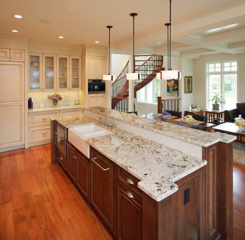 Bianco Romano Granite Countertops   Traditional Kitchen  and Dark Stained Wood Frame and Panel Glass Front Uppers Integrated Kitchen Pendant Lights Tile Backsplash White Painted Cabinets Wood Floor