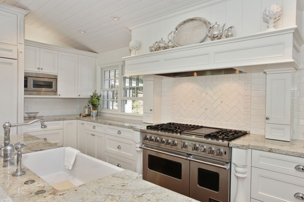 Bianco Romano Granite Countertops with Traditional Kitchen Also Traditional