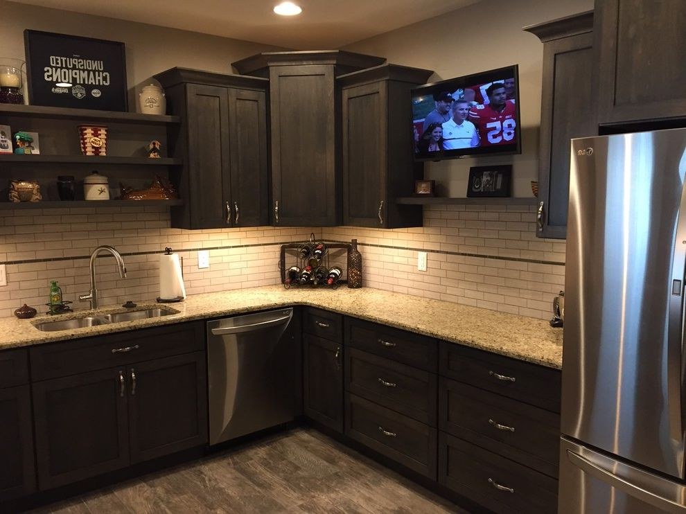 Bianco Romano Granite Countertops with Transitional Basement  and Basement Bar Basement Finish Custom Cabinets Granite Counter Tops Tile Backsplash