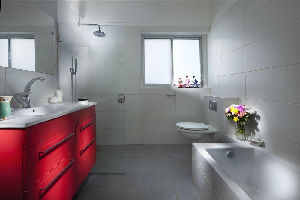 Bidet Toilet Combo   Contemporary Bathroom Also Bathroom Hardware Bathroom Tile Floor Tile Minimal Rain Shower Head Red Vanity Shower Tile Wall Mount Toilet White Bathroom