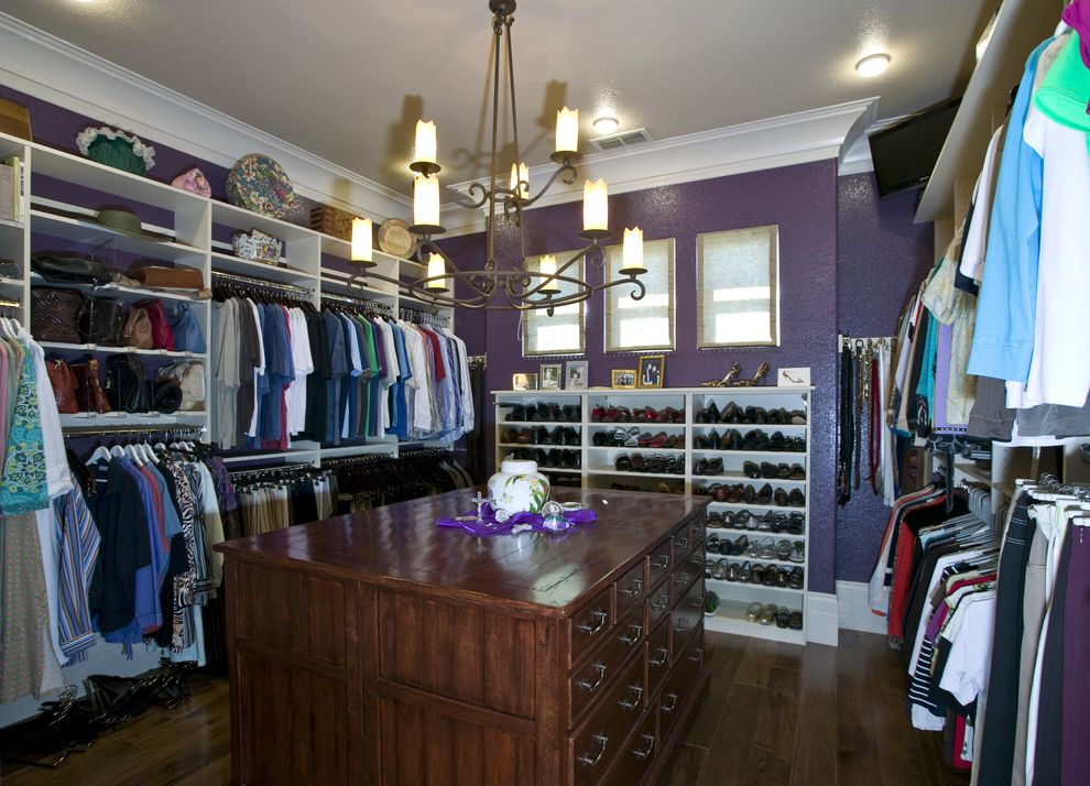 Big Closet Top Shelf   Contemporary Closet Also Baseboards Ceiling Lighting Chandelier Chest of Drawers Crown Molding Double Closet Rods Organization Purple Walls Purse Storage Shoe Racks Walk in Closet White Wood Wood Flooring Wood Trim