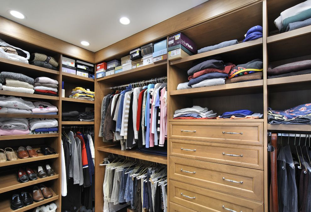 Big Closet Top Shelf   Modern Closet Also Custom Woodwork Kids Closet Open Shelving Recessed Light