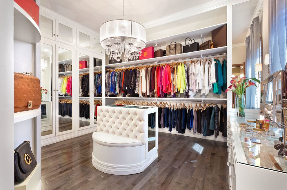Big Closet Top Shelf   Transitional Closet  and Bedroom Remodel Chandelier Clothing Custom Bench Custom Closet Custom Made Dream Closet Glam Glamorous Glamour Jewelry Mirrored Cabinet Doors Style Styling Tufted Bench Vanity White Cabinets