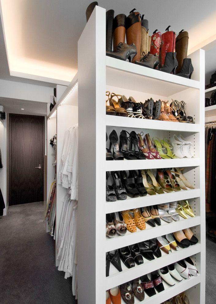 Big Closet Top Shelf with Contemporary Closet  and Cove Lighting Shoe Storage Walk in Closet