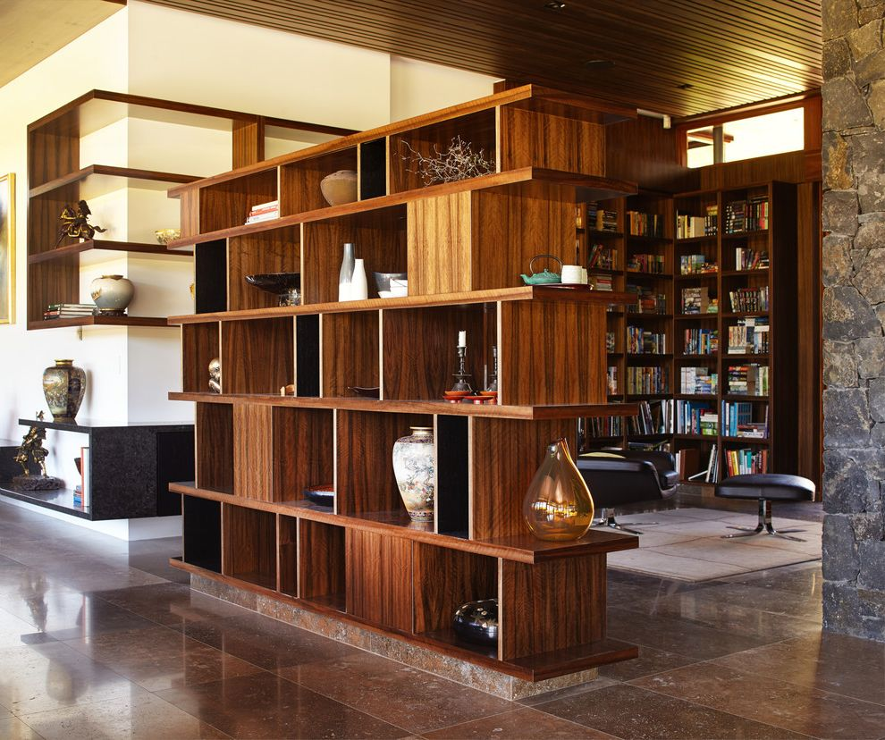 Big Lots Room Divider   Asian Hall Also Asian Vases Bookcase as Room Divider Brown Polished Floor Tile Built in Wall Shelves Leather Armchair Library Stacked Stone Wall Warm Colors Wooden Ceiling