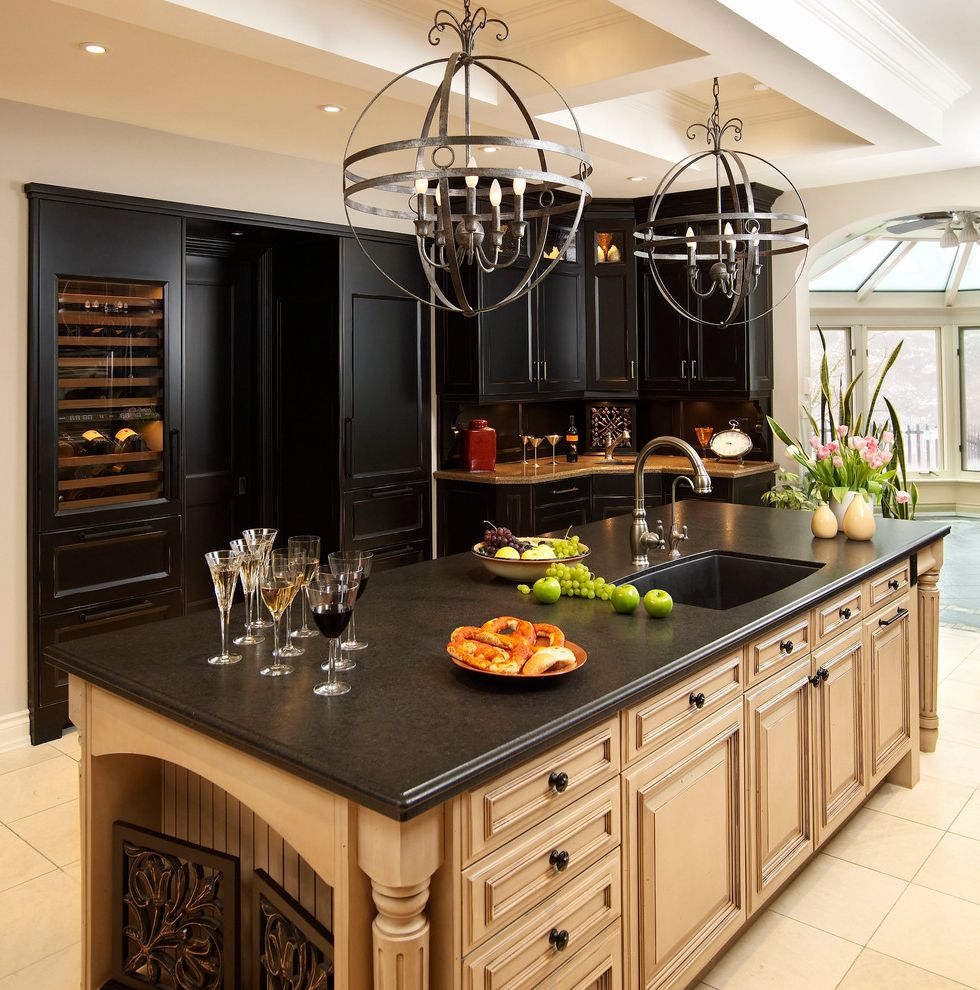 Black and Decker Refrigerator   Traditional Kitchen  and Beige Cabinets Beige Countertop Coffered Ceiling Crown Molding Gray Countertop Kitchen Island Kitchen Sink in Island Pendant Lighting Recessed Lighting White Tile Flooring Wine Refrigerator