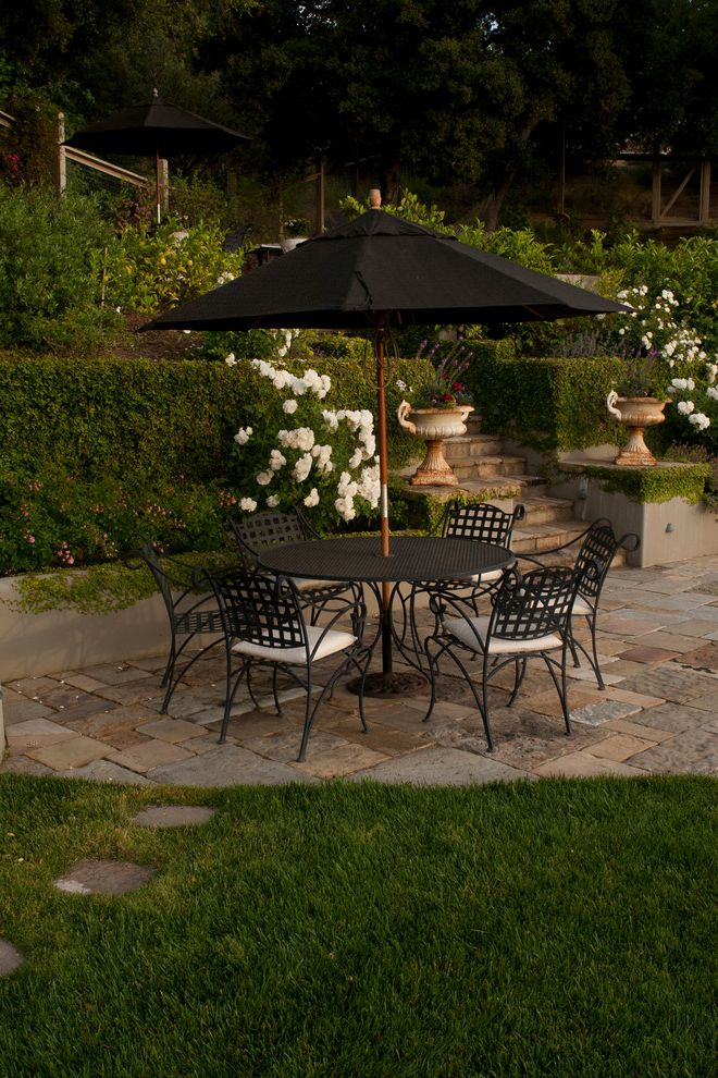 Black and White Patio Furniture with Traditional Patio  and Hedge Metal Chair Metal Table Outdoor Dining Table Patio Roses Stone Stone Steps Umbrella Urn