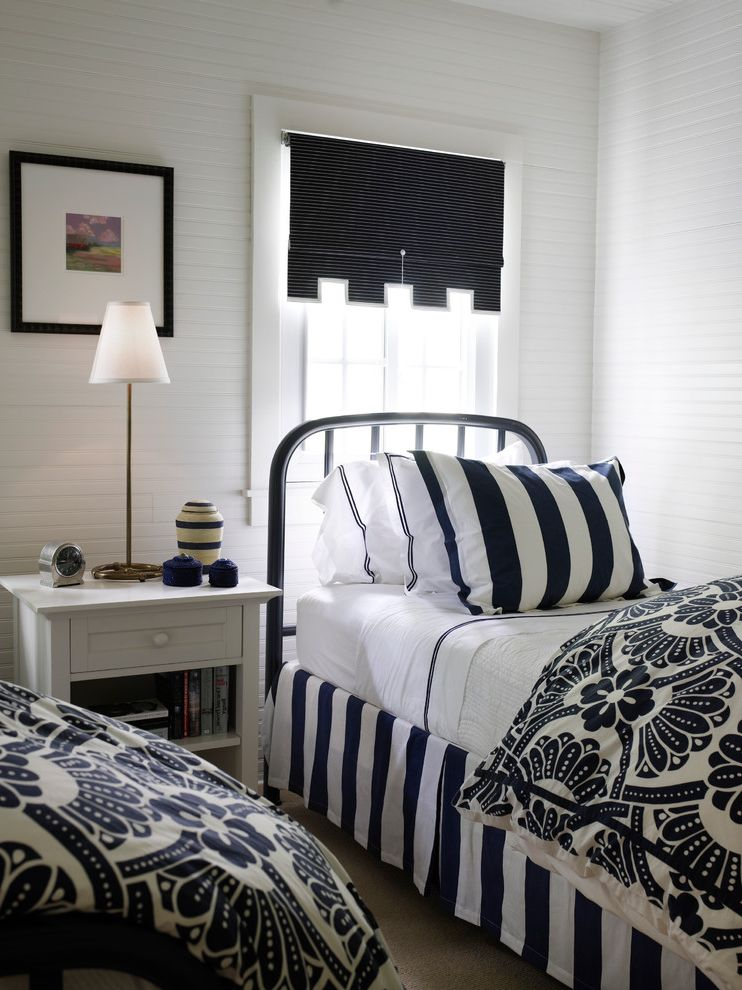 Black and White Striped Sheet Set   Beach Style Bedroom Also Beadboard Blue and White Brass Table Lamp Damask Iron Bed Nightstand Roman Shade Striped Bedskirt