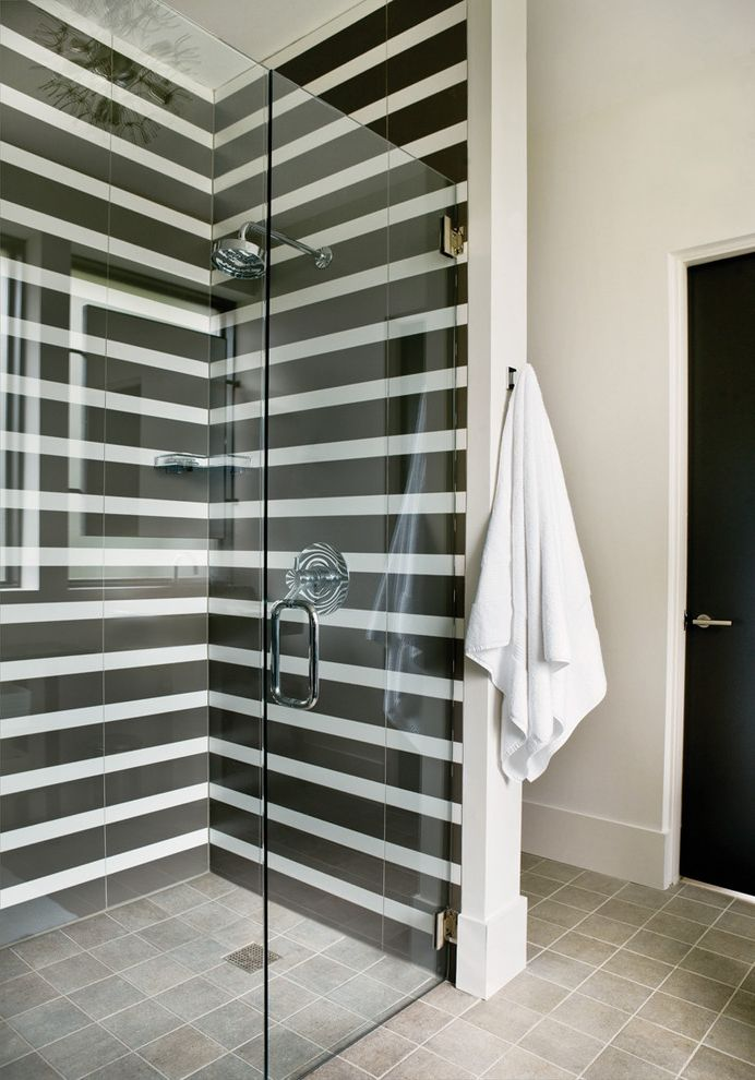 Black and White Striped Sheet Set   Modern Bathroom  and Black Black Door Glass Shower Enclosure Rain Shower Striped Tile Tile Floor Tile Shower White White Walls