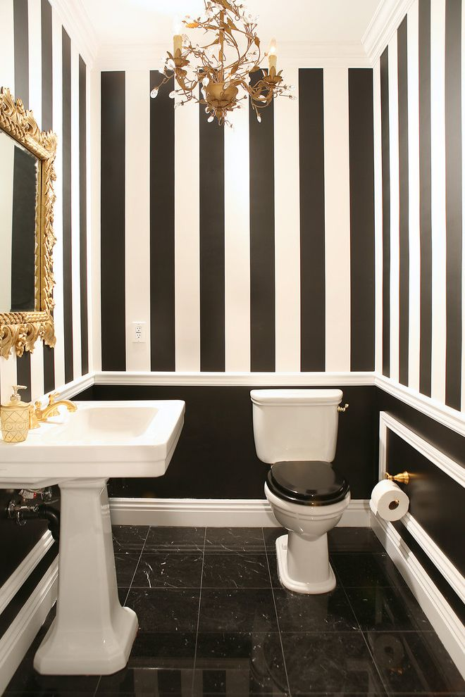 Black and White Striped Sheet Set with Traditional Powder Room  and Baseboards Black and White Black Floors Chair Rail Chandelier Crown Molding Gold Accents Gold Fixtures Pedestal Sink Striped Walls Tile Floors White Trim