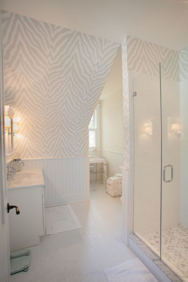Blakely Flooring   Beach Style Bathroom Also Basketweave Floor Tile Beadboard Hex Tile Hexagon Tile Neutral Wallpaper White Countertop White Wainscoting Zebra Print Wallpaper