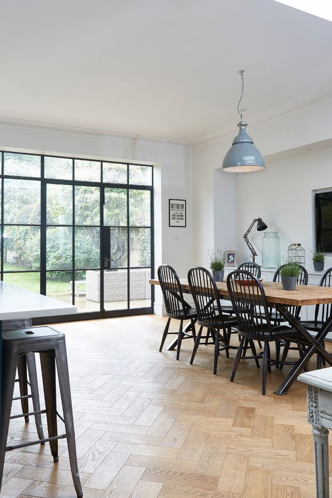 Blakely Flooring   Contemporary Dining Room Also Black Dining Chairs Black Tolix Stool Crittall Window Dining Area Dining Chairs Dining Table Glass Door Glass Wall High Back Chairs Kitchen Diner Pendant Light Wooden Dining Table