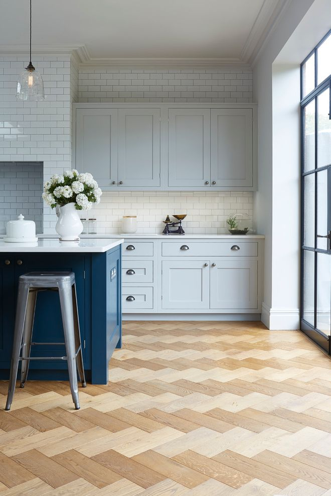 Blakely Flooring   Industrial Kitchen Also Blue Island Crittall Window Cup Handle Exposed Bulb Glass Room Divider Industrial Industrial Pendant Metro Tiled Wall Parquet Flooring Pastel Blue Cabinet Silver Bar Stool
