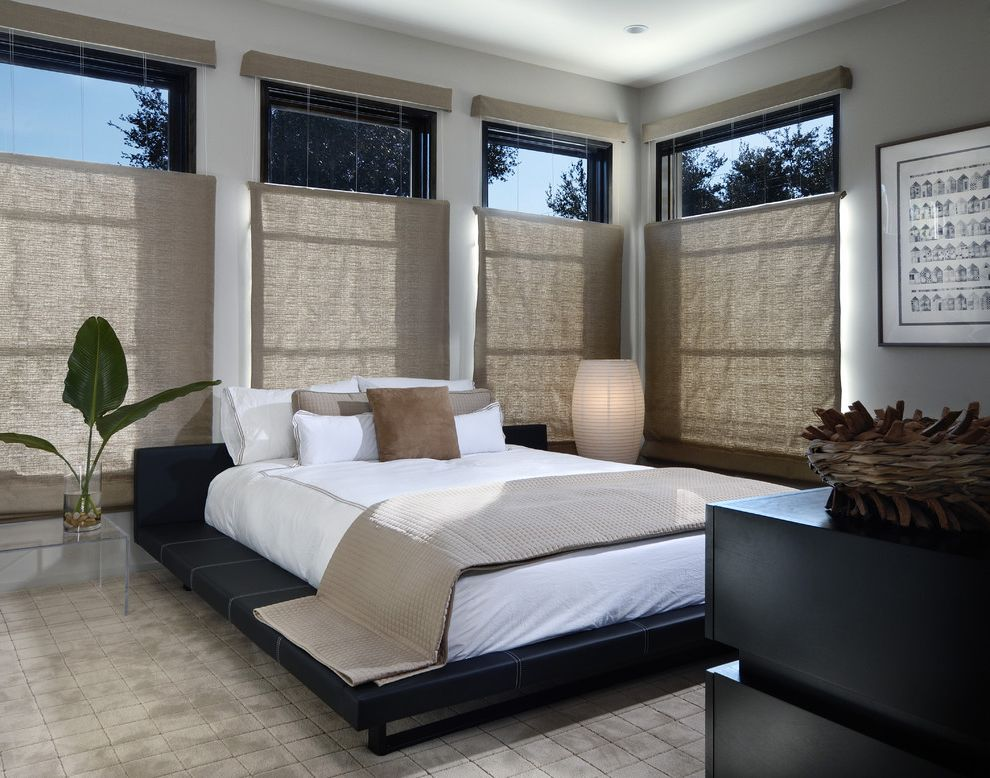 Blinds.com Reviews   Modern Bedroom  and 34 Blinds Acrylic Nightstand Beige Blinds Beige Throw Beige Throw Pillows Black Dresser Black Platform Bed Gray Wall Grey Wall White Bedding