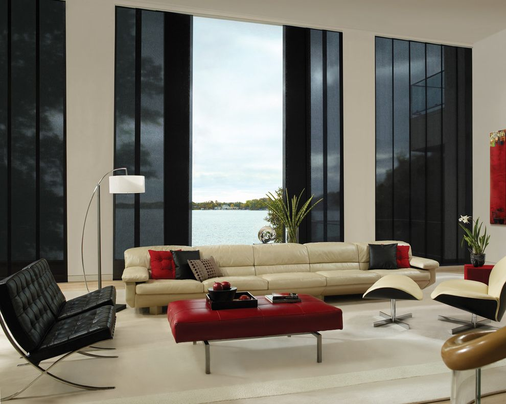 Blinds.com Reviews   Modern Living Room Also Chair Large Window Leather Chair Lounge Chair Ottoman Red Ottoman White Rug Rug Window Covering Window Covering for Large Window