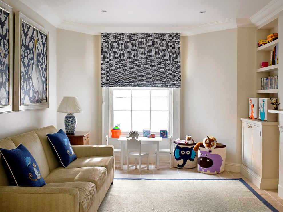 Blinds.com Reviews   Traditional Living Room  and Artwork Blue Roman Shade Childrens Furniture China Lamp Kids Furniture Painting Play Room Roman Blinds Sitting Room Toy Storage Toys