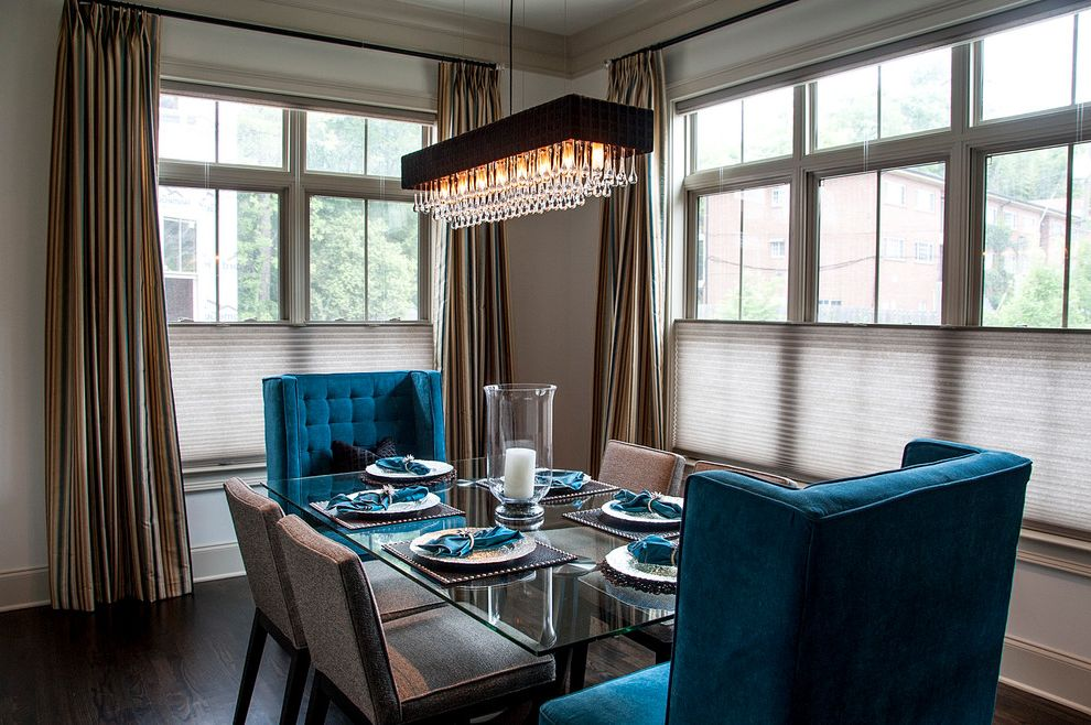 Blinds.com Reviews with Contemporary Dining Room  and Blinds Blue Velvet Curtain Panels Dark Stained Wood Glass Dining Table Place Settings Transom Windows Tufted Upholstery White Casing Window Treatments Wood Floor