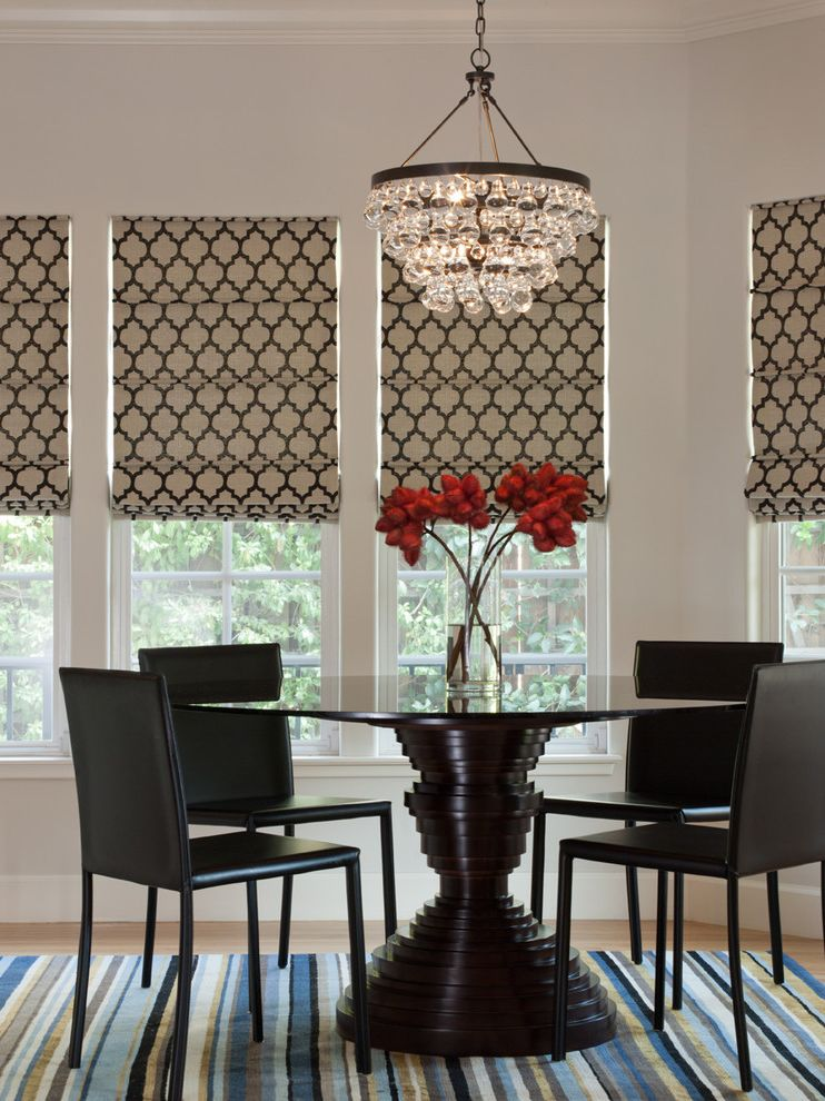 Blinds.com Reviews with Contemporary Dining Room  and Glass Chandelier Modern Dining Chairs Ochre Pear Quatrefoil Roman Shades Round Dining Table Round Table Sculptural Table Striped Rug