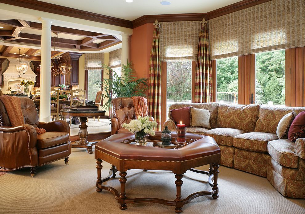 Blinds.com Reviews with Traditional Family Room Also Brown Dark Stained Wood Leather Nail Head Detail Plaid Side Tables Sofa Tapered Columns Window Treatment Wood Trim Woven Blinds