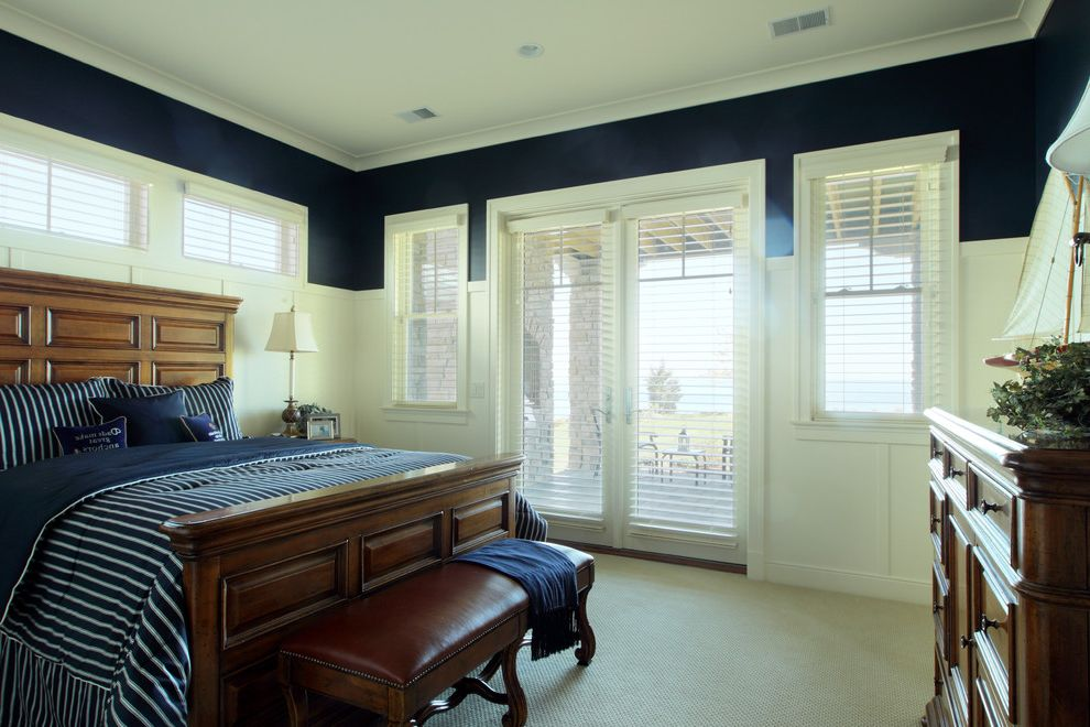 Blinds to Go Sale with Traditional Bedroom Also Crown Molding Foot of the Bed Leather Bench Nautical Navy Navy Blue Walls Patio Doors Striped Bedding Wainscoting White Wood Window Blinds Wood Molding Wooden Bed