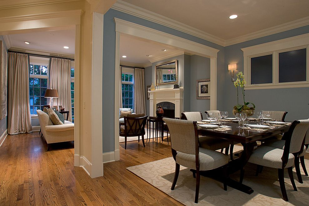 Bloom Room Sf   Traditional Dining Room Also Baseboards Blue Walls Ceiling Lighting Crown Molding Open Floor Plan Recessed Lighting Sconce Upholstered Dining Chairs Wall Lighting White Wood Wood Dining Set Wood Flooring Wood Molding