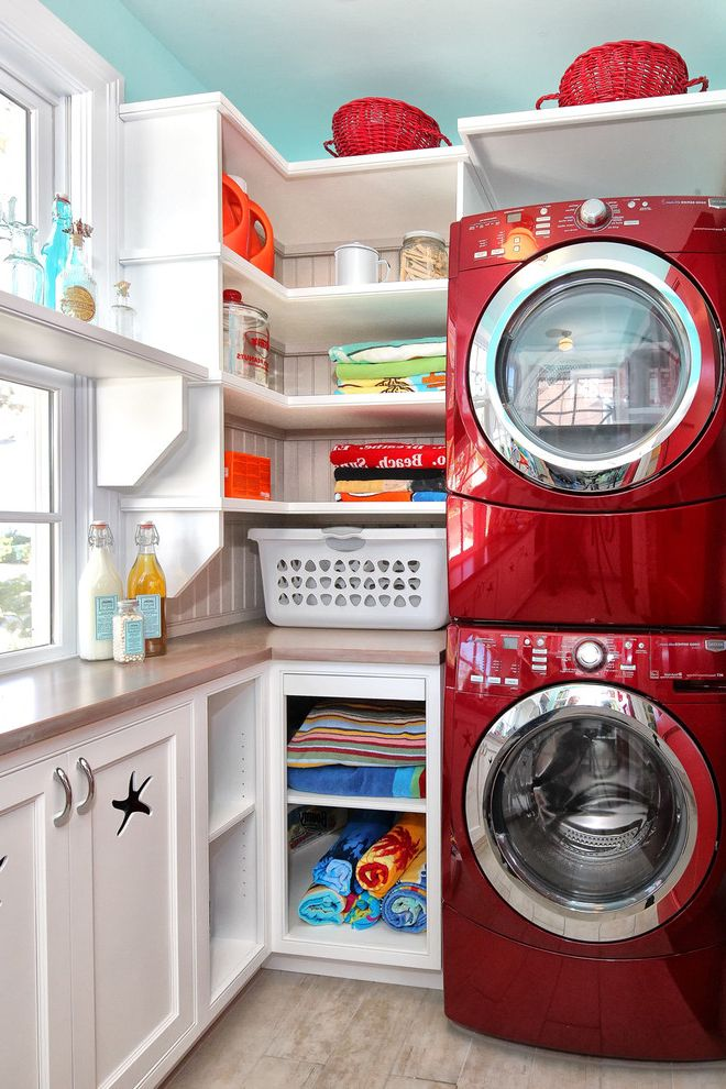 Bloom Room Sf with Traditional Laundry Room Also Beach House Beadboard Built in Shelves Front Loading Washer and Dryer Fun Mud Room Pantry Red Appliances Retro Shaker Style Stackable Washer and Dryer Stacked Washer and Dryer Stacking Washerdryer
