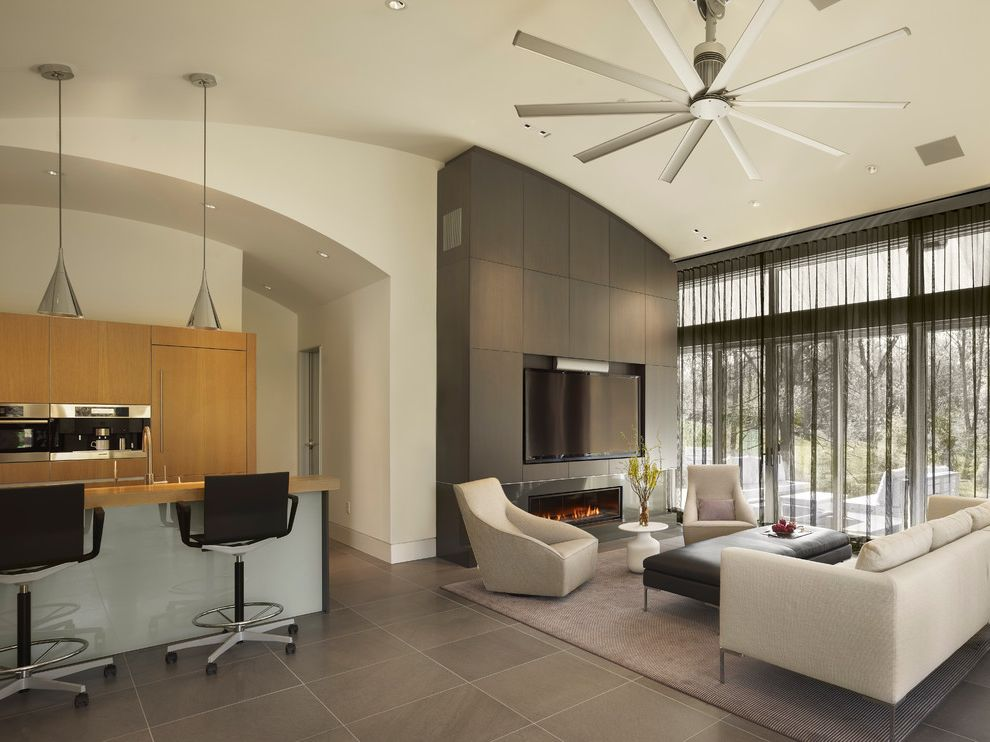 Blower Fan Lowes with Contemporary Living Room  and Arched Ceiling Beige Couch Gas Fireplace Gray Floor Tile Great Room Kitchen Large Ceiling Fan Leather Ottoman Living Room Modern Ceiling Fan Rolling Barstools Sheer Black Curtain Wall Mounted Tv