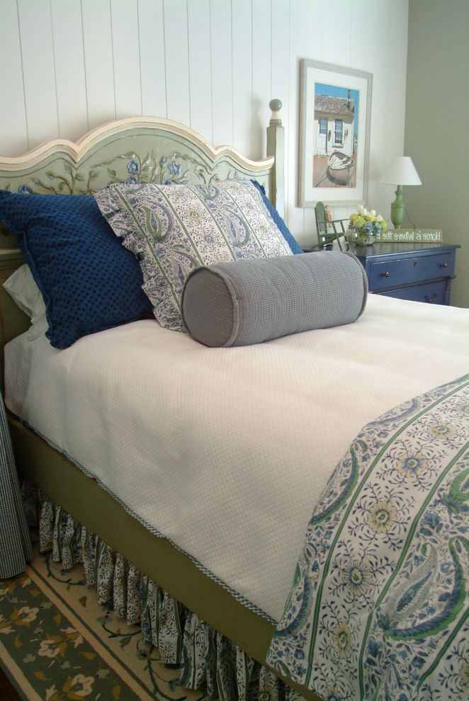 Blue and Green Duvet Cover   Traditional Bedroom  and Beach Bead Board Bed Skirt Blue Custom Painted Headboard Dresser Gray Matelass Nantucket Nautical Roll Pillow Sage Green