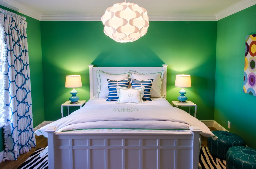 Blue and Green Duvet Cover   Traditional Kids  and Blue Colorful Wall Art Crown Molding Kelly Green Leather Poufs Monogrammed Bedding Pendant Light Table Lamps White Painted Wood Zebra Stripe Area Rug