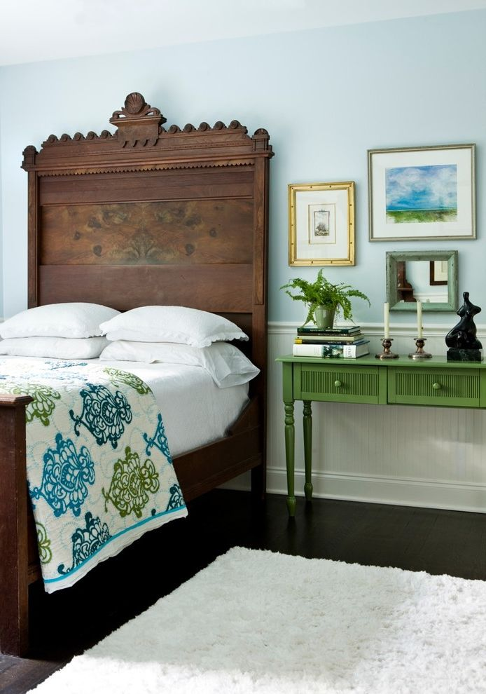 Blue and Green Duvet Cover with Eclectic Bedroom  and Area Rug Beadboard Bedside Table Blue Walls Dark Floor Gallery Wall Green Furniture Nightstand Wainscoting Wood Headboard