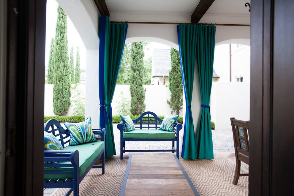 Blue and Green Duvet Cover with Mediterranean Patio  and Blue and Green Chippendale Bench Cyprus Tree Drapes Loggia Moroccan Royal Blue Trina Turk