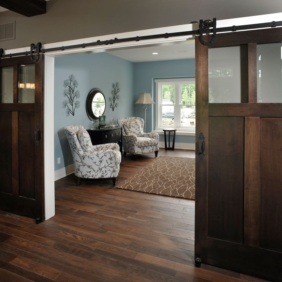 Blue Barn Sf   Rustic Home Office Also Area Rug Barn Doors Baseboards Blue and Brown Blue Walls Dark Floor Floral Armchairs Grey Walls Rustic Sliding Doors Wall Decor White Wood Wood Flooring Wood Trim