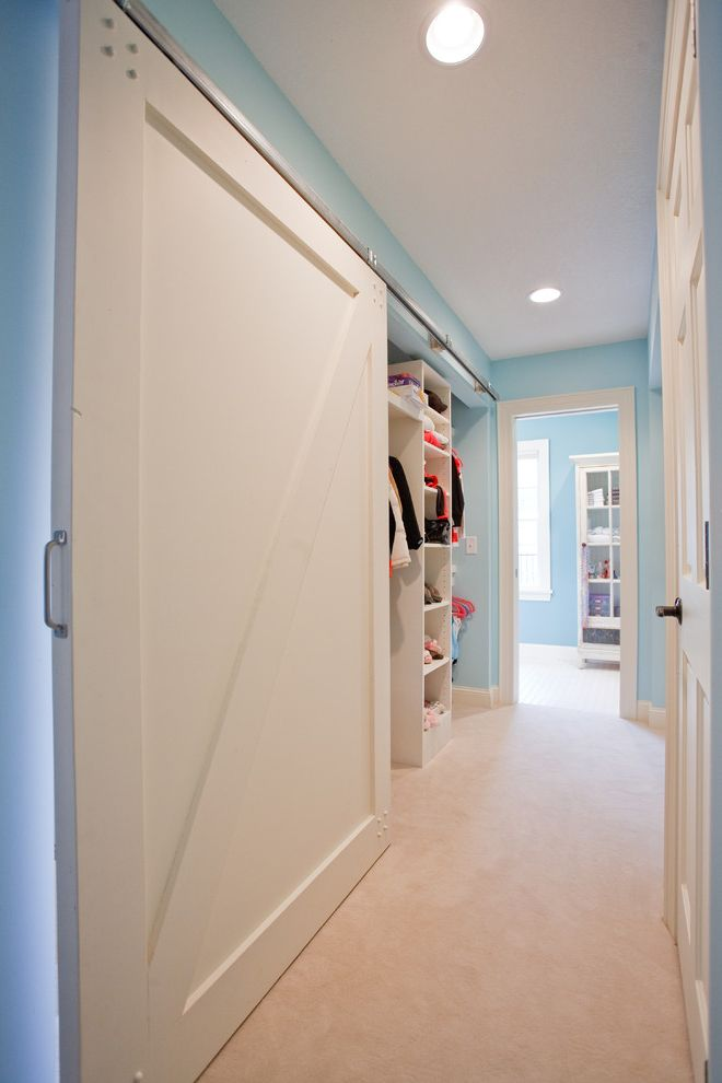 Blue Barn Sf   Traditional Hall  and Barn Door Blue Paint Blue Wall Closet Shelves Sliding Door Storage Wardrobe White Barn Door White Cabinet White Carpet