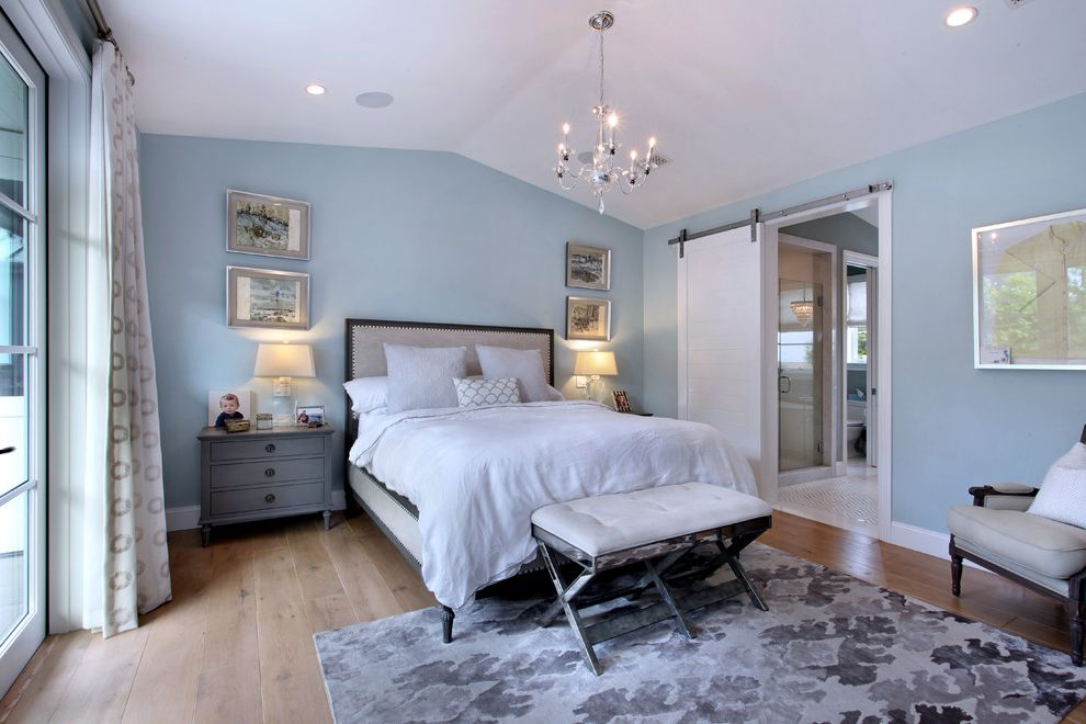 Blue Barn Sf   Transitional Bedroom Also Chandelier Gray Area Rug Master Bedroom Upholstered Headboard White Barn Door