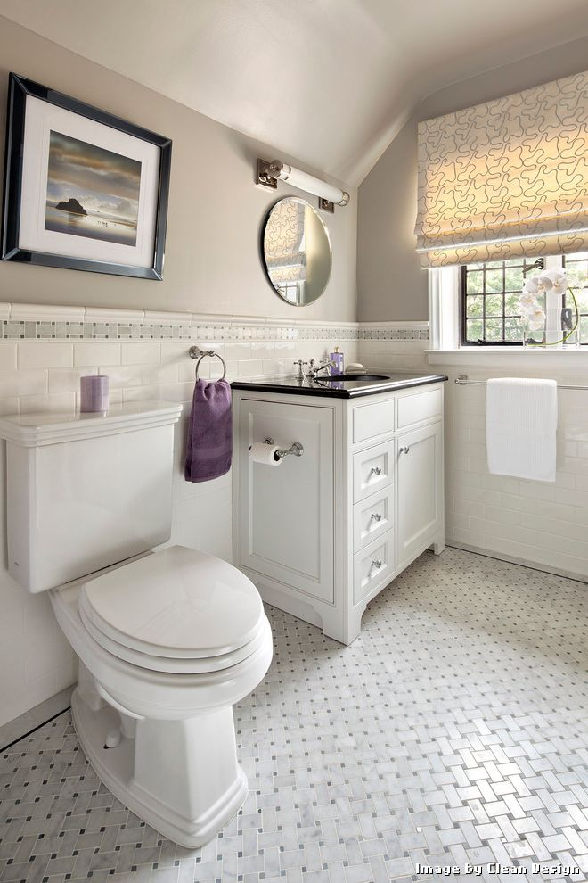 Blue Ceramic Floor Tile with Contemporary Bathroom and Basketweave Tile Chair Rail Marble Tile Roman Shade Round Mirror Slanted Ceiling Subway Tile Tan Paint Tile Accent Tile Floor White Vanity Window