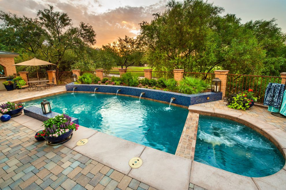 Blue Water Spa Raleigh Nc with Contemporary Pool Also Backyard Retreat Built in Hot Tub Mosaic Tile Patio Pool Fountain Pool Tile Residential Spa Swimming Pool Water Feature Water Fountain