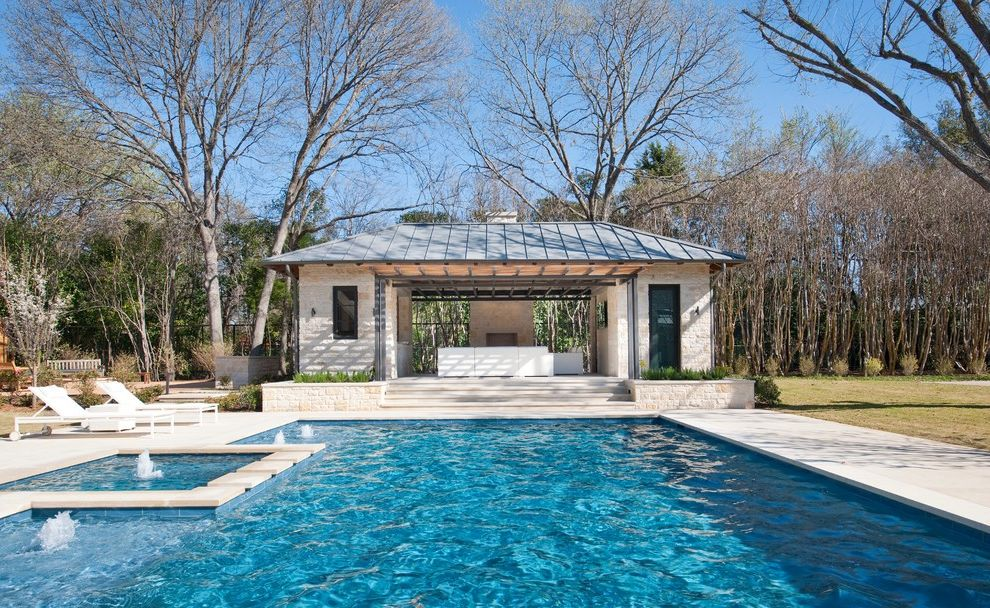 Blue Water Spa Raleigh Nc with Contemporary Pool  and Back Yard Cabana Chaise Lounge Fountain Geometric Pool Hot Tub Metal Roof Patio Furniture Pool Pool House Rectilinear Pool Spa Standing Seam Roof Water Feature