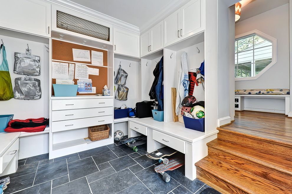 Boarding School Rooms   Contemporary Entry  and Builtins Ceiling Lighting Closets Coat Hooks Kids Storage Lockers Mud Room Mudroom Recessed Lighting Shaker Cabinets Storage Tile Floors White Cabinets White Trim