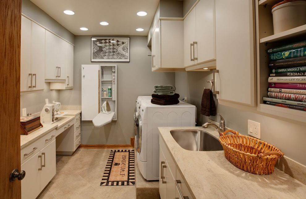 Boarding School Rooms   Contemporary Laundry Room Also Baseboards Built in Ironing Board Ceiling Lighting Foldout Ironing Board Gray Walls Laundry Room Recessed Lighting Sewing Area Storage Undercabinet Lighting Utility Room White Cabinets