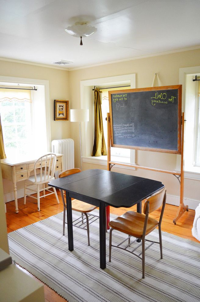 Boarding School Rooms   Farmhouse Kids  and Area Rug Chalkboard Curtains Drapes Home School Radiator Striped Rug Study Roomwood Flooring Tan Walls Vintage School Chairs White Wood Window Treatments Wood Trim Workstation