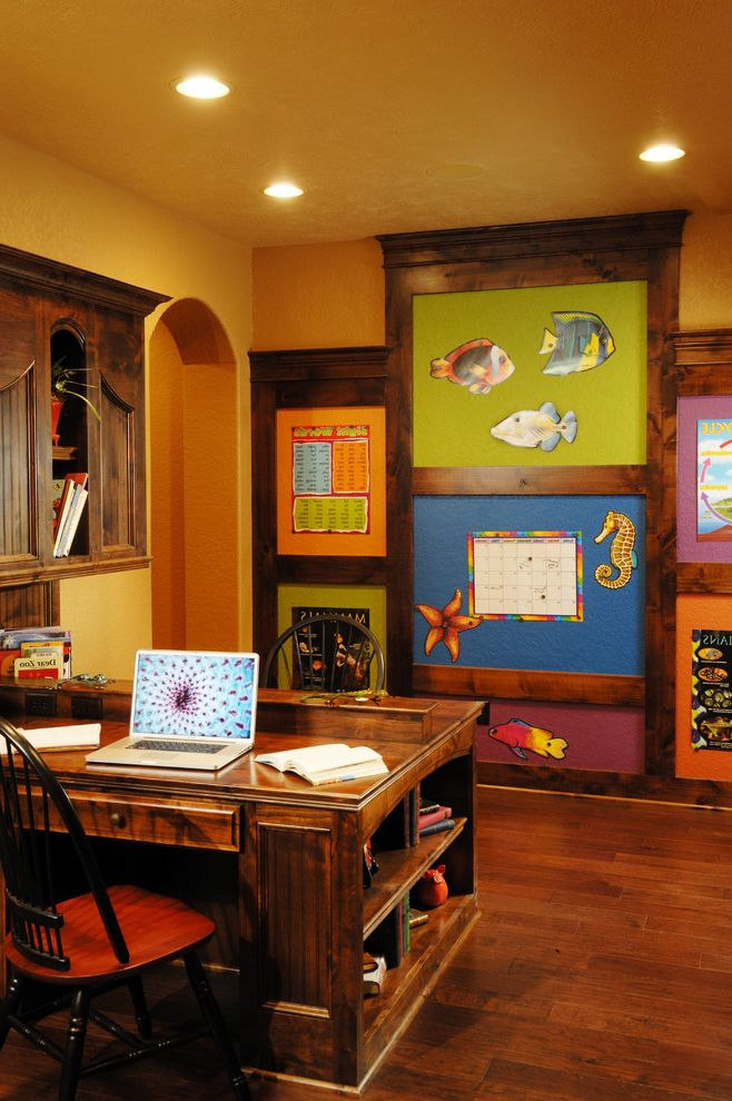 Boarding School Rooms   Traditional Home Office Also Arched Door Calender Computer Desk Dark Wood Desk Dark Wood Floor Fish Home School Homework Area Homework Space Lap Top Wood Chair Yellow Walls