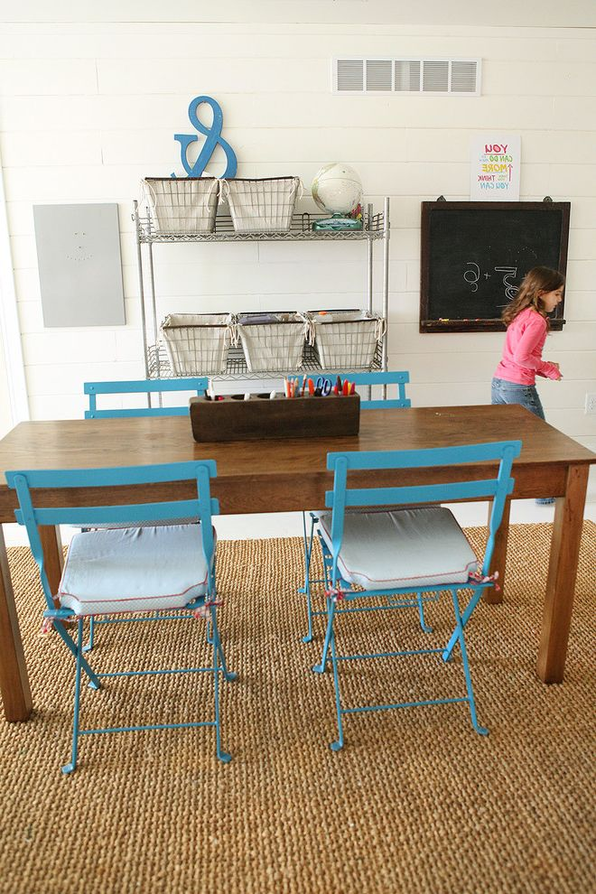 Boarding School Rooms with Farmhouse Kids Also Area Rug Cafe Chairs Desk Organization Office Organization Home School Natural Rug Open Storage Storage Bins Storage Shelves White Wood Wood Paneling Workstation