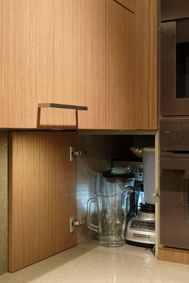 Bob Wallace Appliance   Contemporary Kitchen Also Caesarstone Counter Tops Flat Panel Cabinets Integrated Appliances Limestone Backsplash Waterfall Countertop