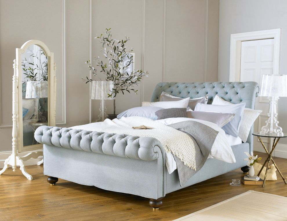 Body Shop of Barrington   Contemporary Bedroom  and Beautiful Bed Bedding Bedstead Blue British Buttoned Chesterfield Design Duck Egg Elegant English Handcrafted Linen Luxury Mattress Royal Bohemia Stylish Tufted Upholstered