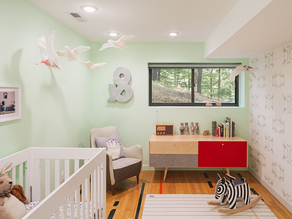 Body Shop of Barrington   Midcentury Nursery  and Mint Green Walls Mobile Recessed Lighting Wallpaper Accent Wall White Crib