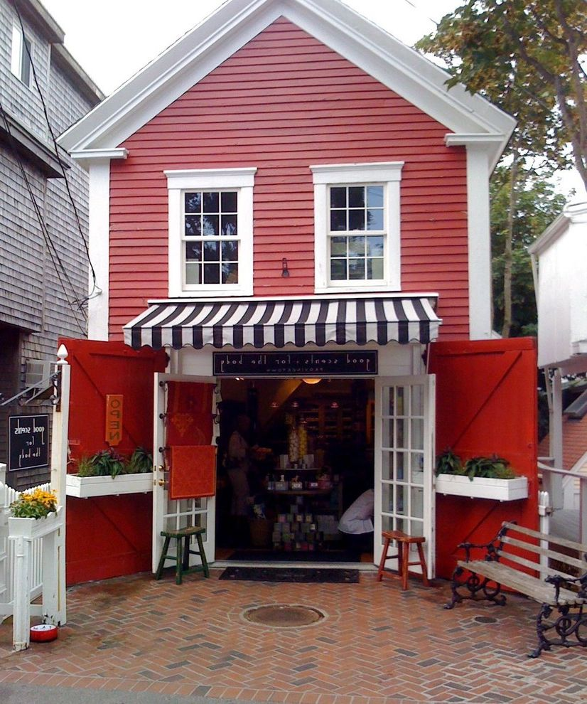 Body Shop of Barrington   Traditional Exterior  and Awning Black and White Cape Cod Provincetown Red Black and White Shop Storefront