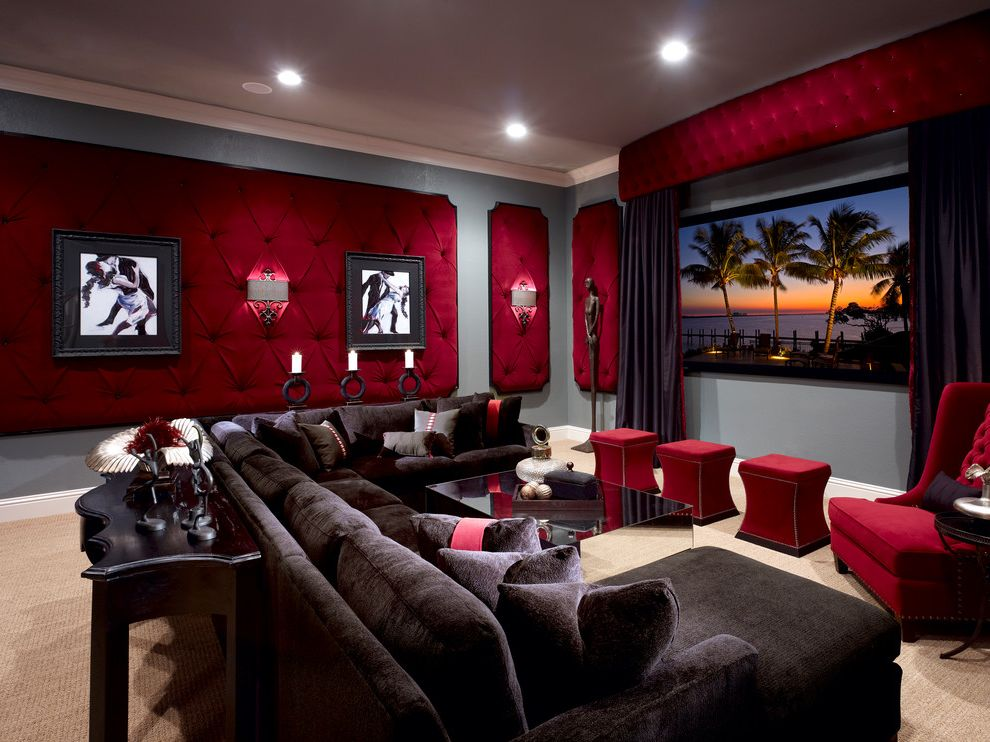Bonney Lake Theater   Traditional Home Theater Also Carpet Coffee Table Console Cornice Curtain Home Theater Movie Room Recessed Lighting Sconce Screen Sculpture Sofa Stools Transitional Tufted Wall Treatment