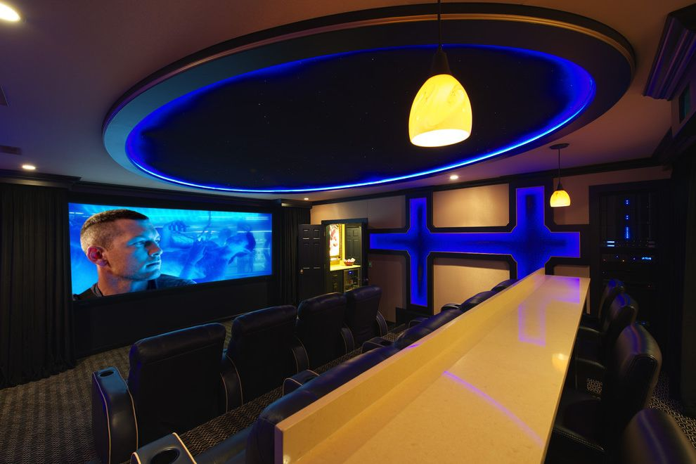 Bonney Lake Theater with Eclectic Home Theater  and Bar Seating Black Blue Brown Cinema Seating Counter Stools Cove Lighting Dome Ceiling Home Theater Pin Lights Recessed Lighting Starry Sky Theater Seating Tray Ceiling